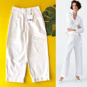 Zara White The Magnum Pant High Rise Pleated Front